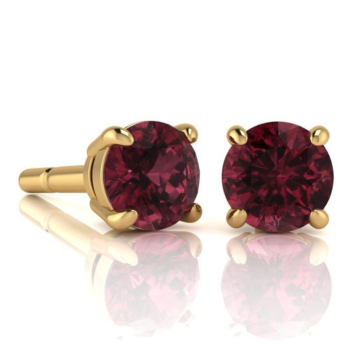 Image of 2 1/2 Carat Round Shape Garnet Stud Earrings In 14K Yellow Gold Over Sterling Silver