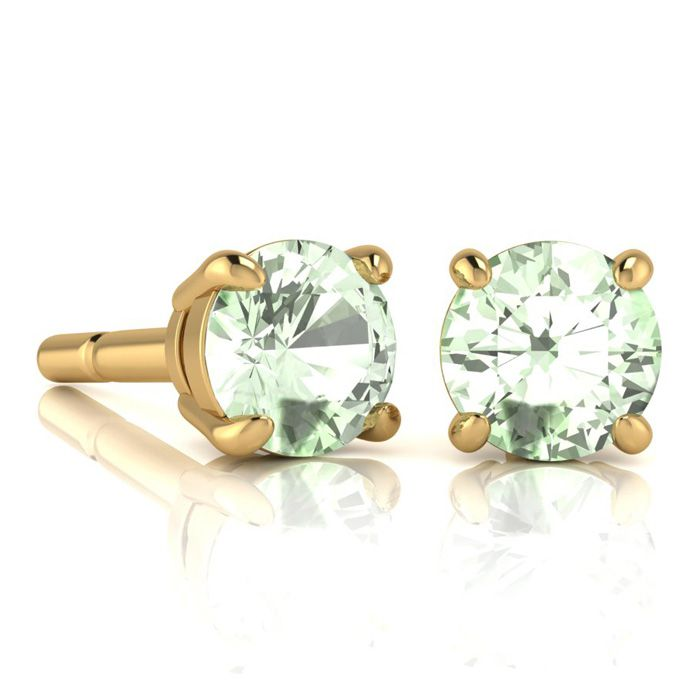 Image of 2 Carat Round Shape Green Amethyst Stud Earrings In 14K Yellow Gold Over Sterling Silver