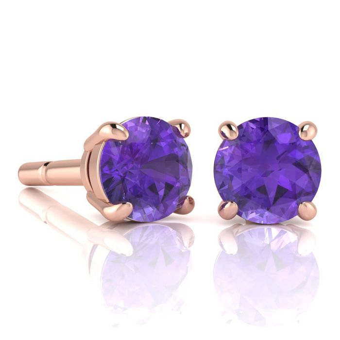 Image of 2 Carat Round Shape Amethyst Stud Earrings In 14K Rose Gold Over Sterling Silver