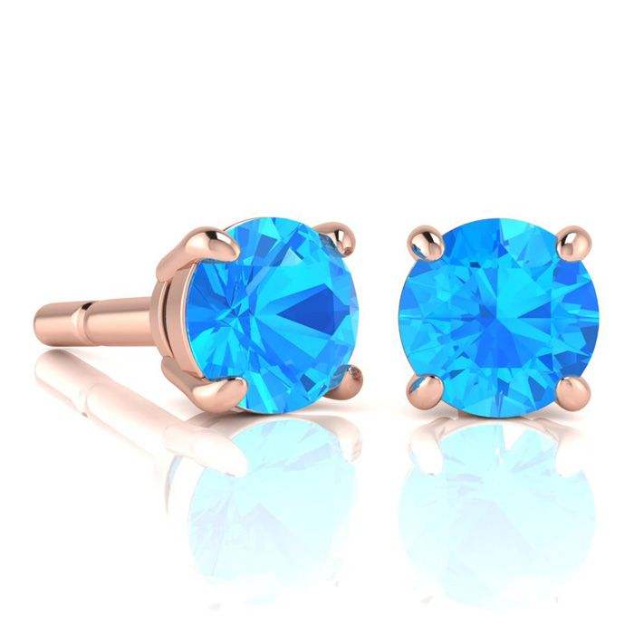 Image of 2 3/4 Carat Round Shape Blue Topaz Stud Earrings In 14K Rose Gold Over Sterling Silver