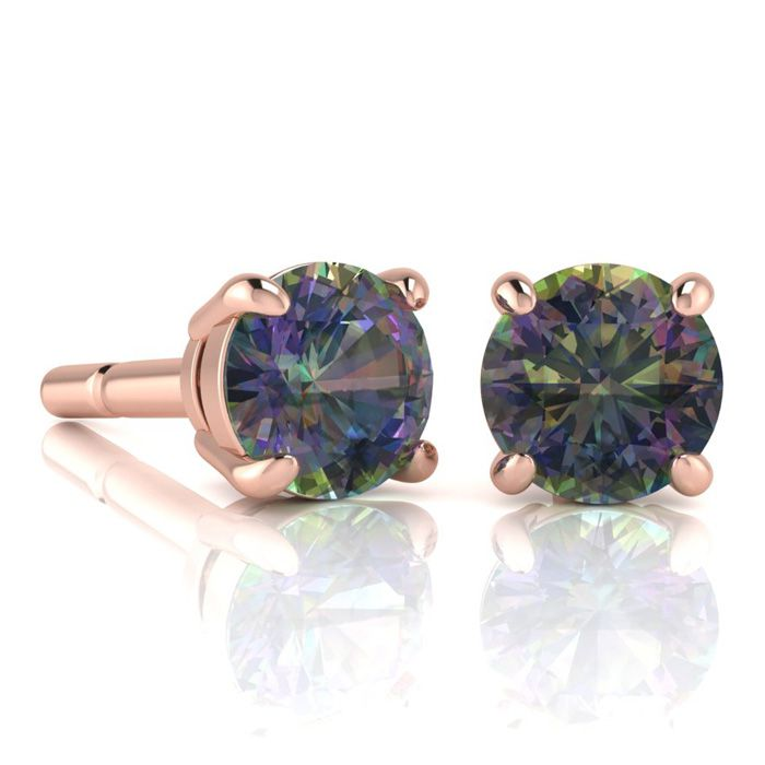 Image of 2 3/4 Carat Round Shape Mystic Topaz Stud Earrings In 14K Rose Gold Over Sterling Silver