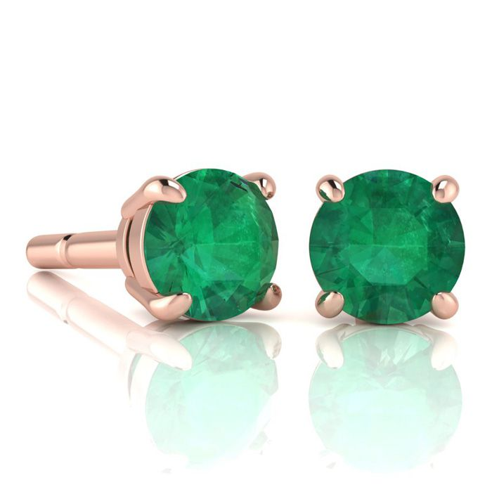 2 Carat Round Shape Emerald Stud Earrings In 14K Rose Gold Over Sterling Sil..
