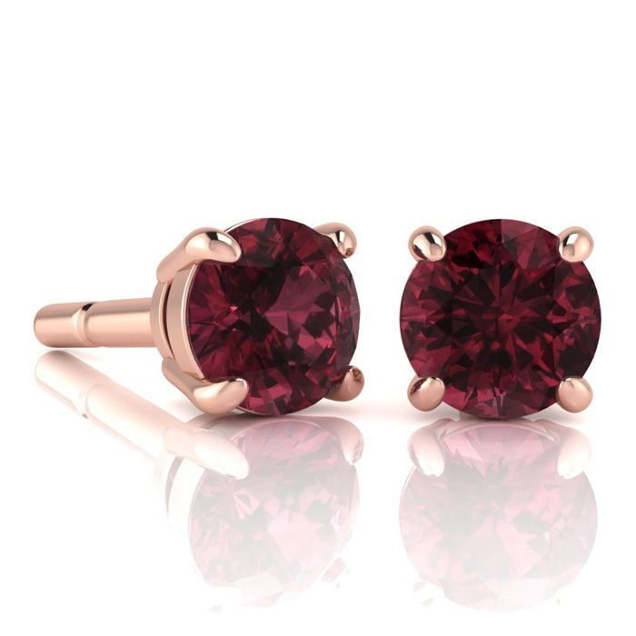 Image of 2 1/2 Carat Round Shape Garnet Stud Earrings In 14K Rose Gold Over Sterling Silver