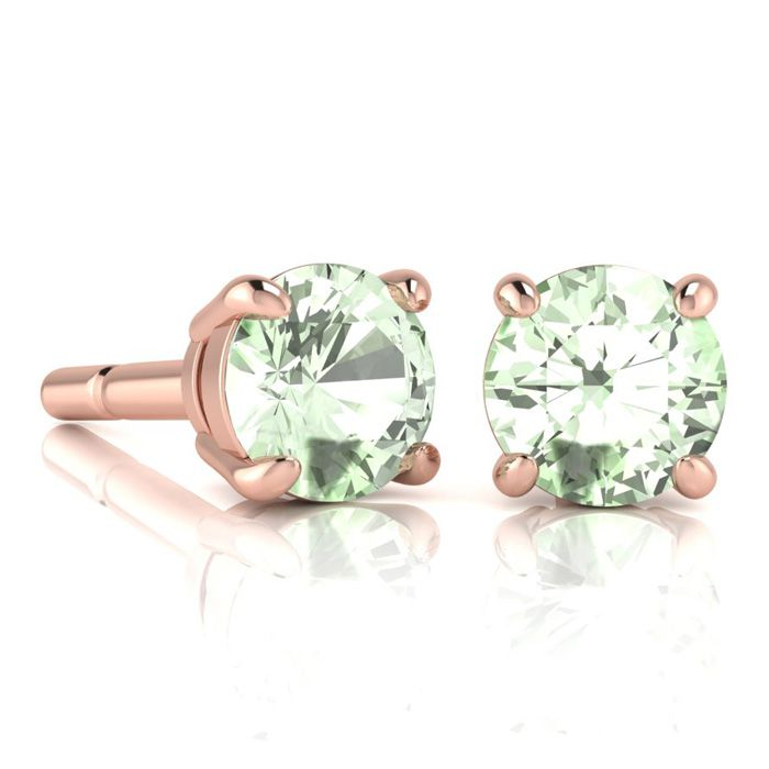 Image of 2 Carat Round Shape Green Amethyst Stud Earrings In 14K Rose Gold Over Sterling Silver