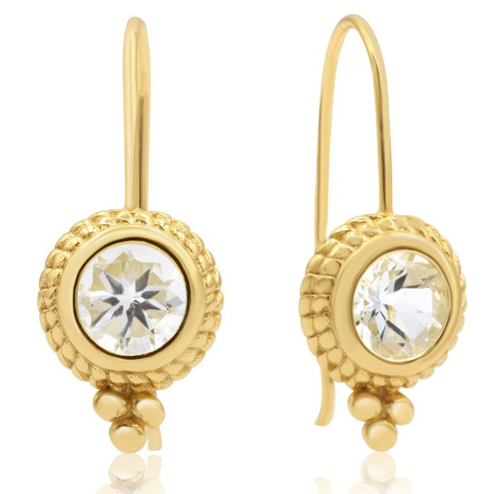 1 3/4 Carat Aquamarine Dangle Earrings With Rope Detail In 14K Yellow Gold O..