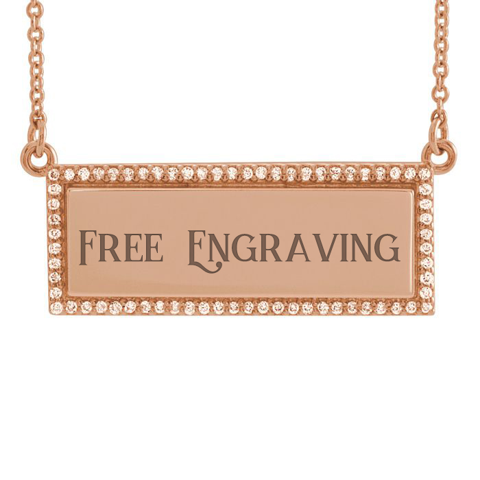 14K Rose Gold 1/6ct Diamond Bar Necklace With Free Custom Engraving, 18 Inches