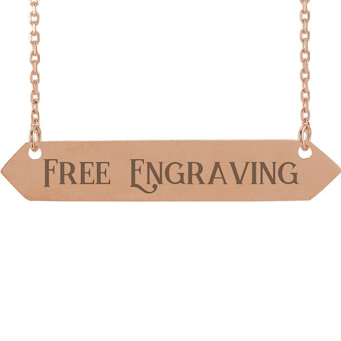 14K Rose Gold Geometric Bar Necklace With Free Custom Engraving, 16 Inches