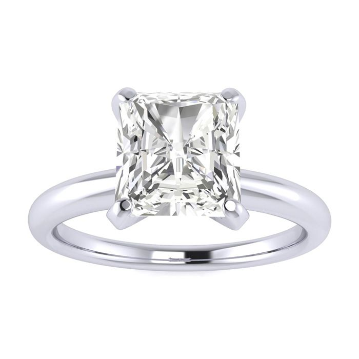 1.5 Carat Radiant Cut Diamond Solitaire Engagement Ring in 14K White Gold