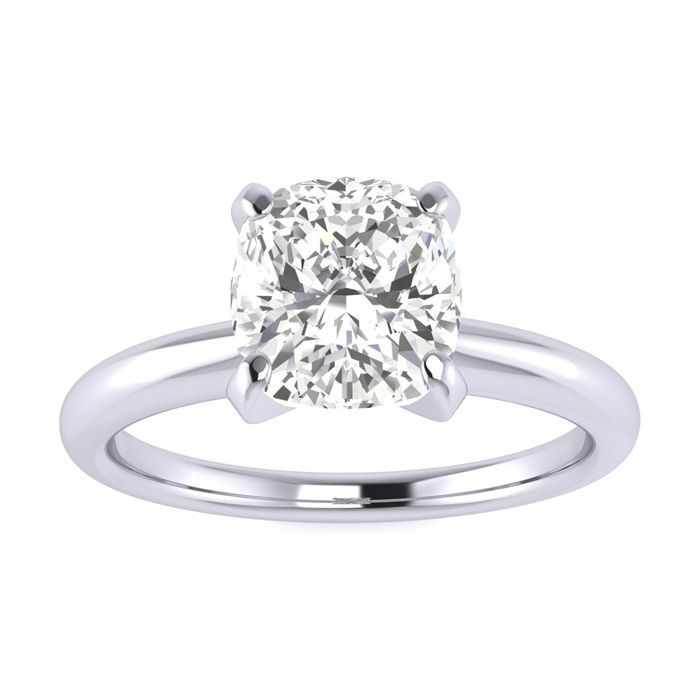 1.5 Carat Cushion Cut Diamond Solitaire Engagement Ring in 14K White Gold (