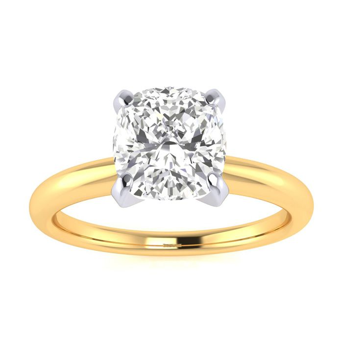 1.5 Carat Cushion Cut Diamond Solitaire Engagement Ring in 14K Yellow Gold (