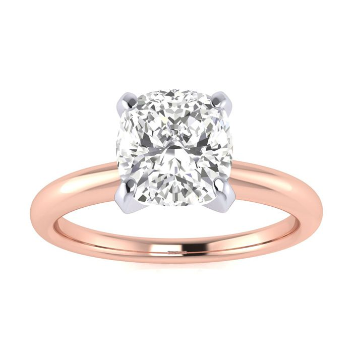1.5 Carat Cushion Cut Diamond Solitaire Engagement Ring in 14K Rose Gold (
