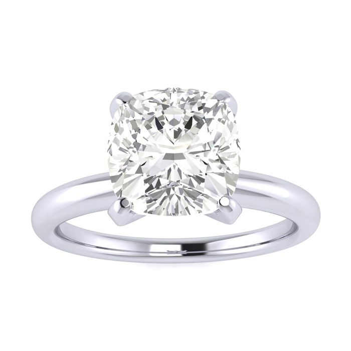 2 Carat Cushion Cut Diamond Solitaire Engagement Ring in 14K White Gold (