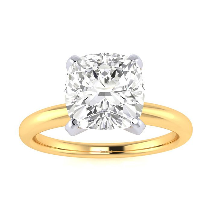 2 Carat Cushion Cut Diamond Solitaire Engagement Ring in 14K Yellow Gold (