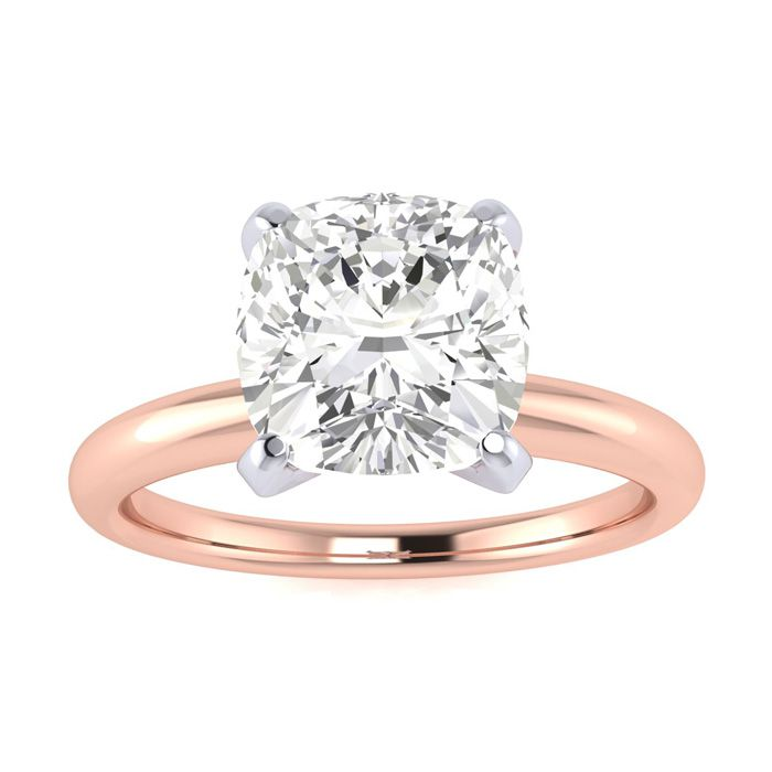 2ct Cushion Cut Diamond Solitaire Engagement Ring In 14K Rose Gold