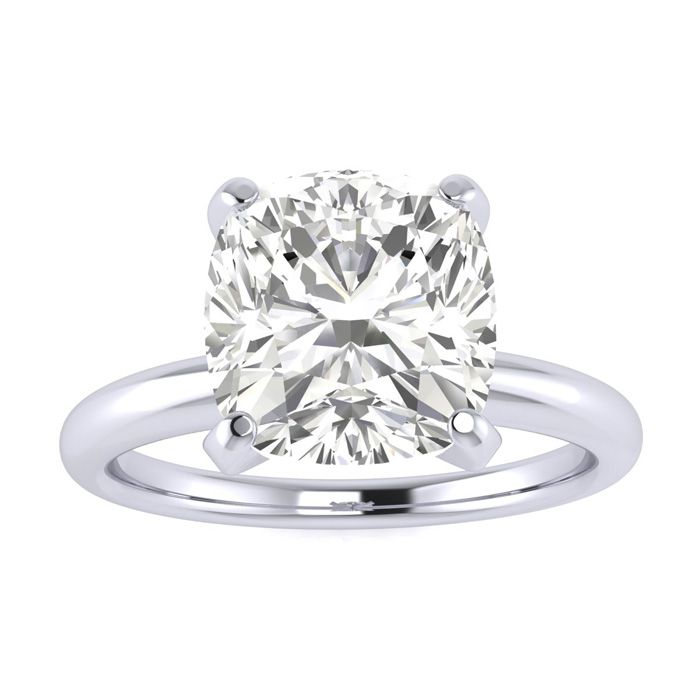 2.5 Carat Cushion Cut Diamond Solitaire Engagement Ring in 14K White Gold (
