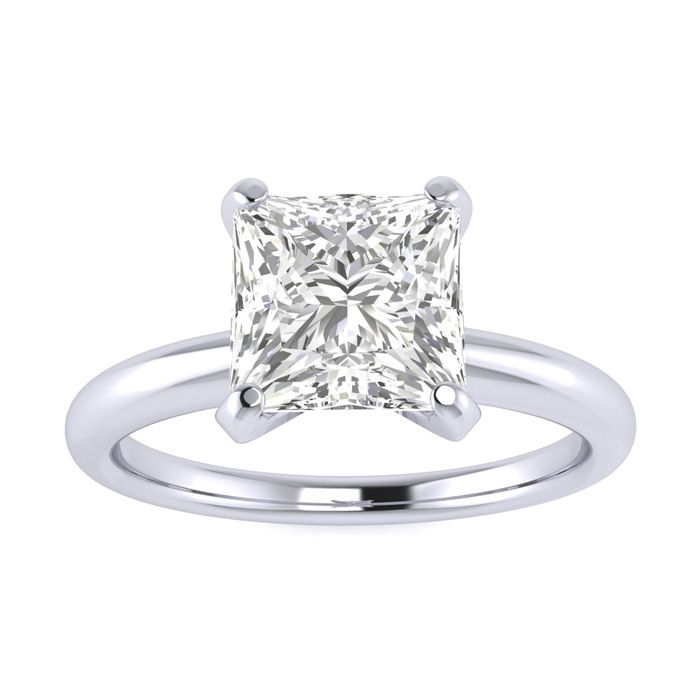 1.5 Carat Princess Cut Diamond Solitaire Engagement Ring in 14K White Gold