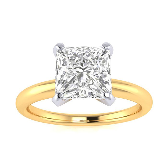 1.5 Carat Princess Cut Diamond Solitaire Engagement Ring in 14K Yellow Gold