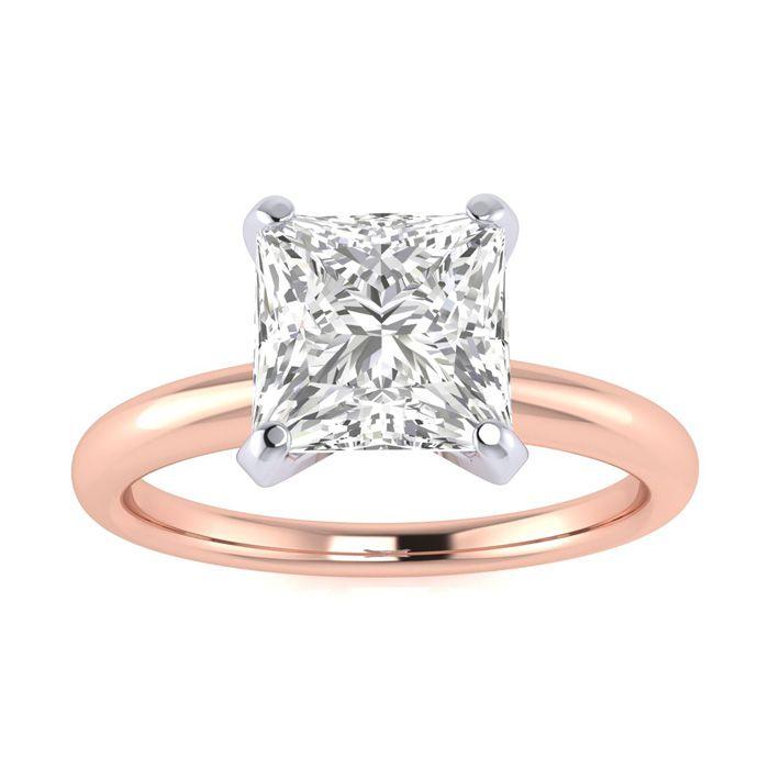 1.5 Carat Princess Cut Diamond Solitaire Engagement Ring in 14K Rose Gold
