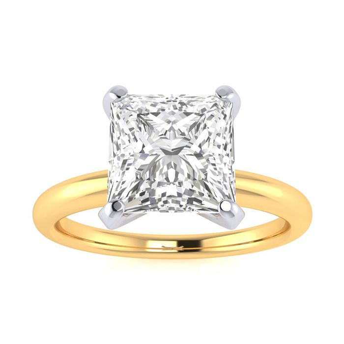 2 Carat Princess Cut Diamond Solitaire Engagement Ring in 14K Yellow Gold