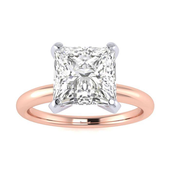2 Carat Princess Cut Diamond Solitaire Engagement Ring in 14K Rose Gold