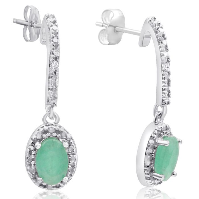 0.90ct Emerald and Diamond Oval Drop Earrings In Sterling Silver