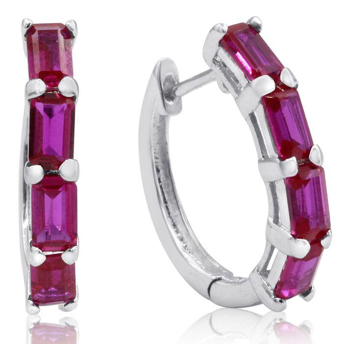 4 1/2ct Emerald Cut Ruby Hoop Earrings In Sterling Silver