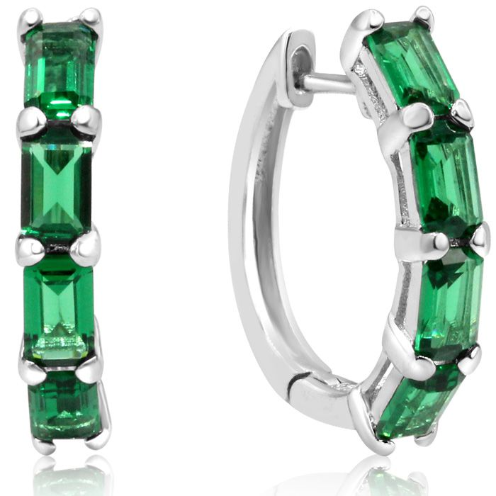 3 1/4ct Emerald Cut Emerald Hoop Earrings In Sterling Silver