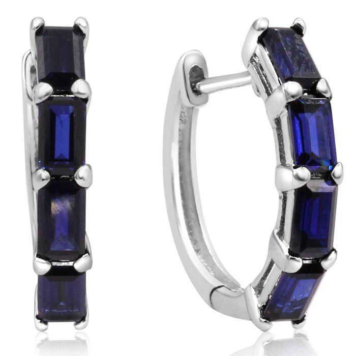 4 1/2ct Emerald Cut Sapphire Hoop Earrings In Sterling Silver