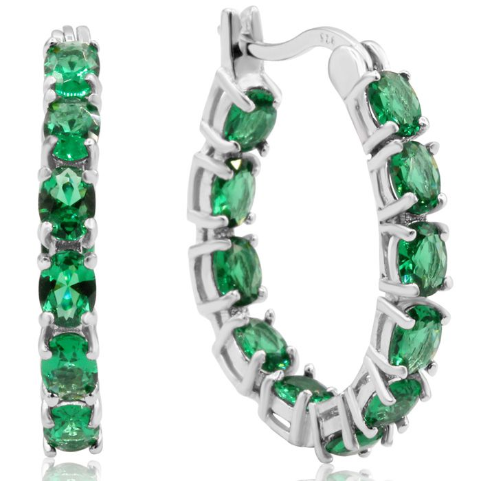 3 1/3ct Oval Emerald Inside-Out Hoop Earrings In Sterling Silver