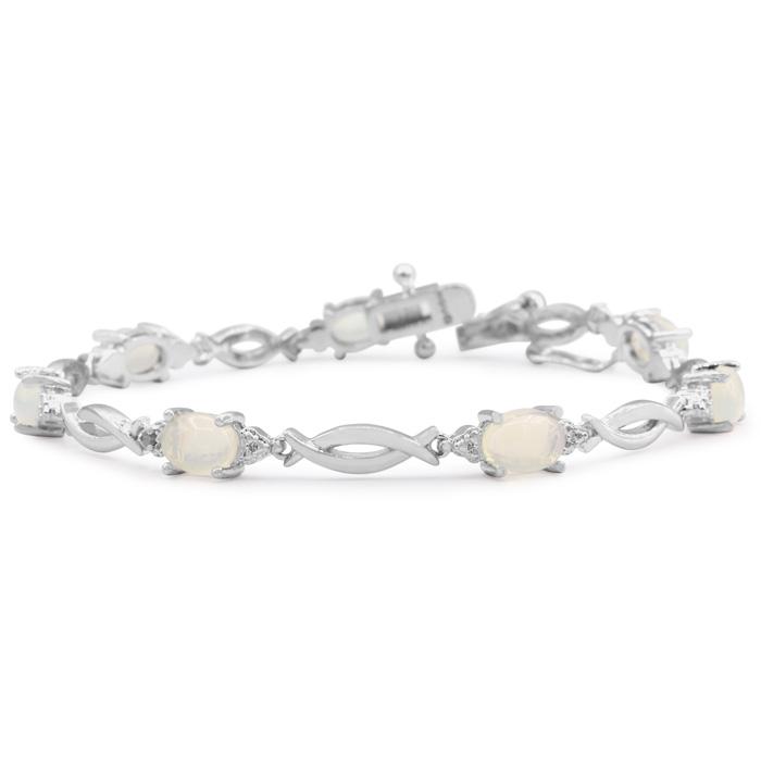 3 1/2 Carat Opal and Diamond Bracelet
