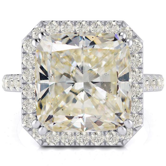 Image of 5.96 Carat Cushion Cut Halo Diamond Engagement Ring in 18 Karat White Gold