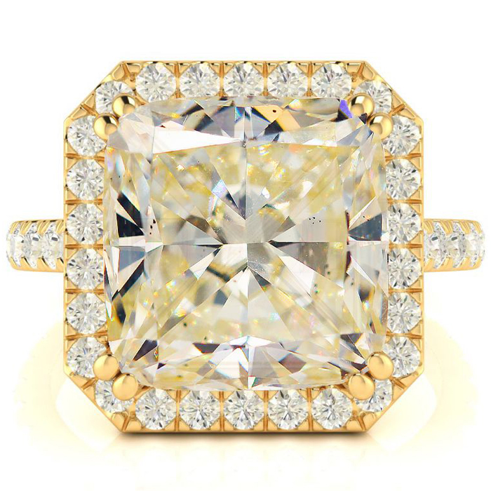 Image of 5.96 Carat Cushion Cut Halo Diamond Engagement Ring in 18 Karat Yellow Gold