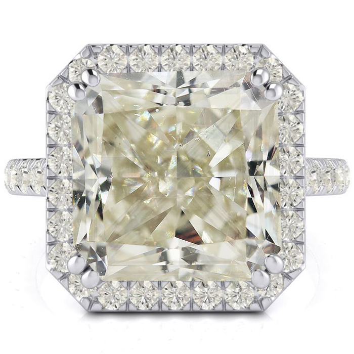 6.60 Carat Radiant Cut Halo Diamond Engagement Ring in 18K White Gold (4.6 g), Size 4 by SuperJeweler