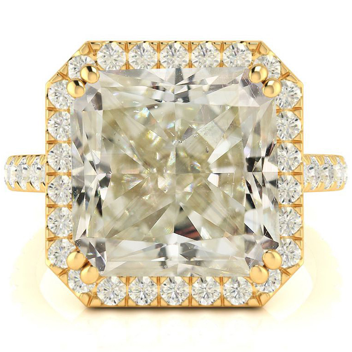 6.60 Carat Radiant Cut Halo Diamond Engagement Ring in 18K Yellow Gold (4.6 g), Size 4 by SuperJeweler