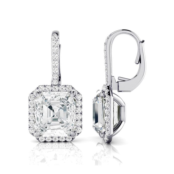 Certified 11.18 Carat Radiant Cut Halo Diamond Drop Earrings In 18 Karat White Gold