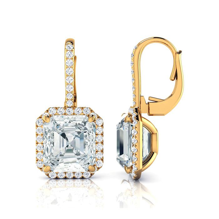 Certified 11.18 Carat Radiant Cut Halo Diamond Drop Earrings In 18 Karat Yellow Gold