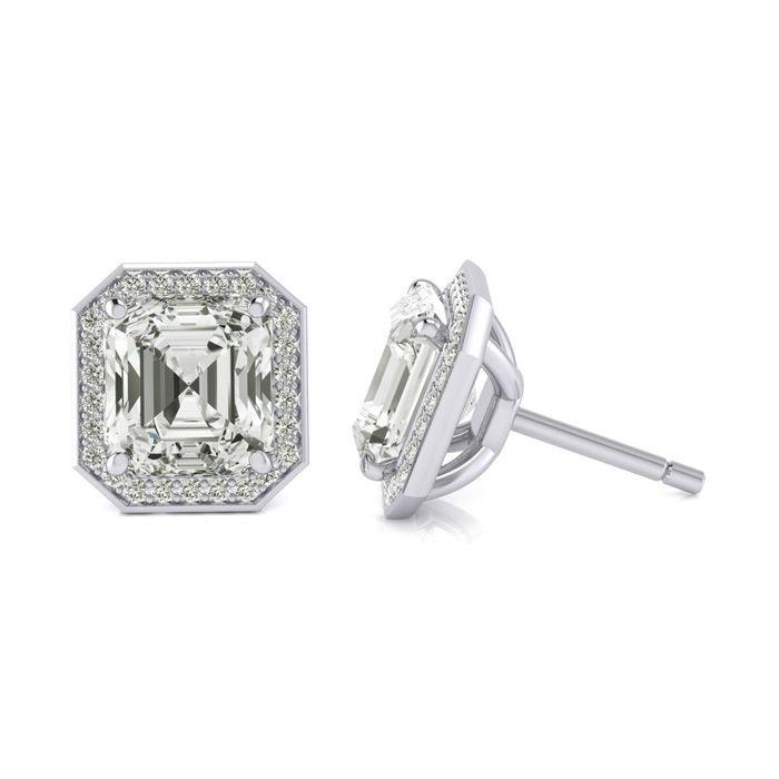 Image of Certified 11.04 Carat Radiant Cut Halo Diamond Stud Earrings In 18 Karat White Gold