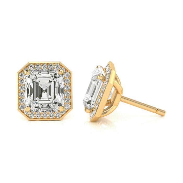 Image of Certified 11.04 Carat Radiant Cut Halo Diamond Stud Earrings In 18 Karat Yellow Gold