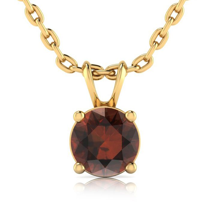 1ct Chocolate Bar Brown Champagne Diamond Solitaire Pendant In 14K Yellow Go..