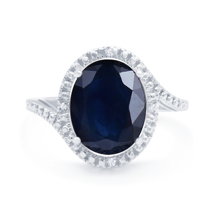 5 1/2 Carat Oval Shape Sapphire and Halo Diamond Ring In Sterling Silver