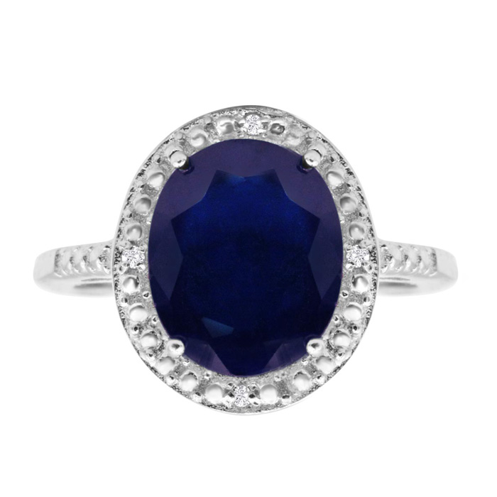 4 Carat Oval Shape Sapphire and Halo Diamond Ring In Sterling Silver