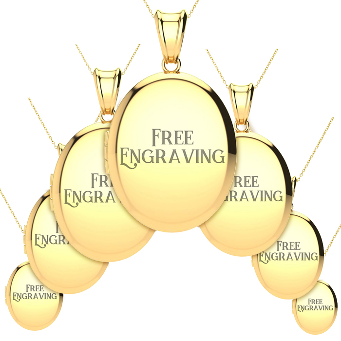 14K Yellow Gold Small, Medium and Large Oval Locket With Free Custom Engravi..