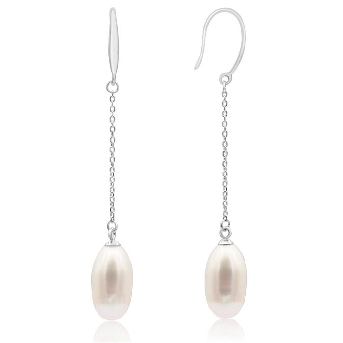 Freshwater Cultured Pearl Drop Earrings In Sterling Silver With Chain, 2 Inches