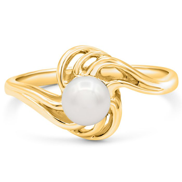 Round Freshwater Cultured Pearl Ring In 14 Karat Yellow Gold