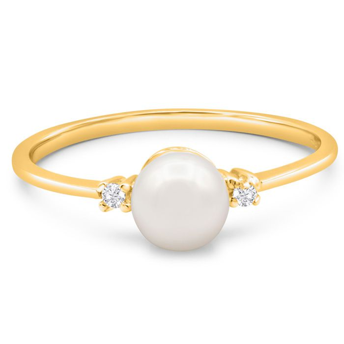 Round Freshwater Cultured Pearl and Diamond Accent