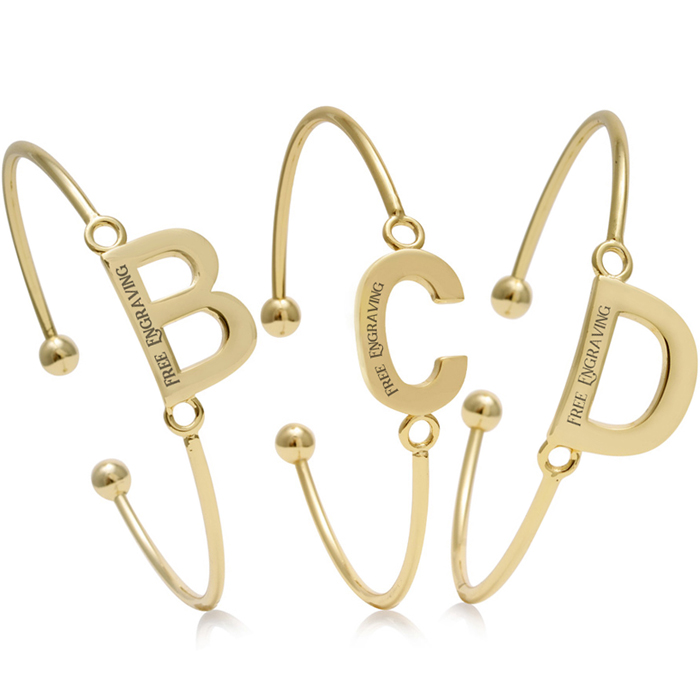 FREE ENGRAVING Yellow Gold Initial Bangle Bracelets