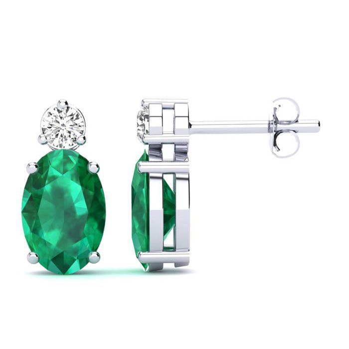1 Carat Oval Emerald and Diamond Stud Earrings In 14 Karat White Gold