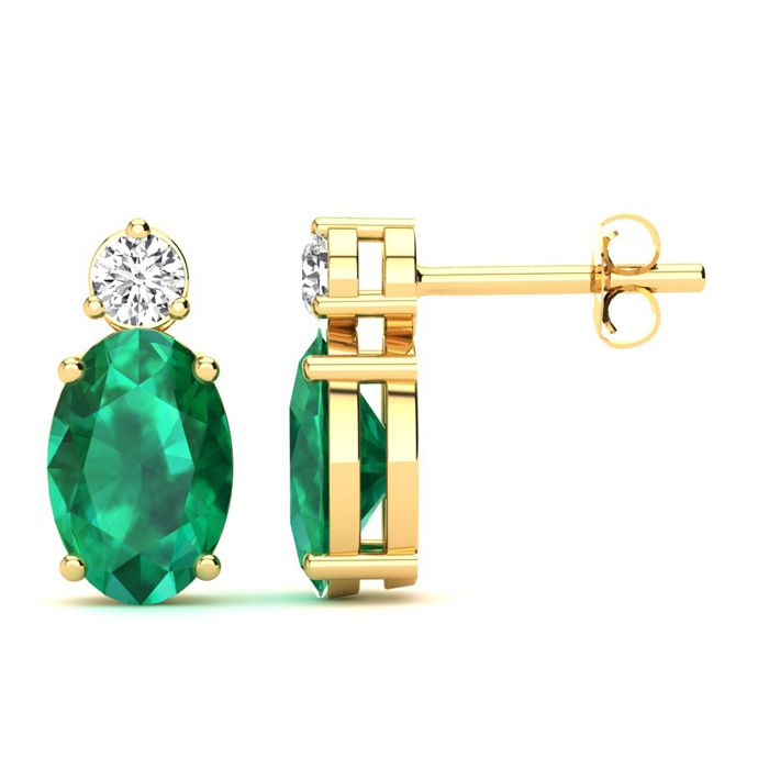 1 Carat Oval Emerald and Diamond Stud