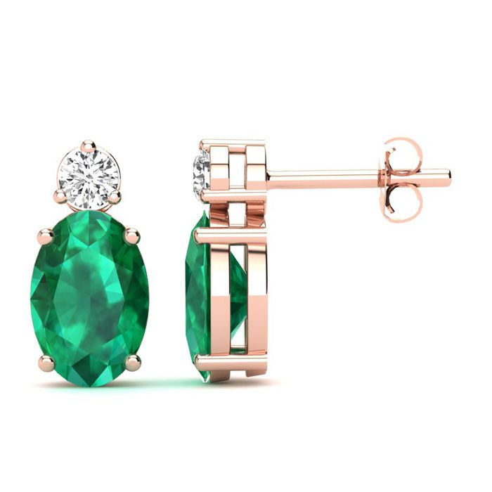 1 Carat Oval Emerald and Diamond Stud Earrings In 14 Karat Rose Gold