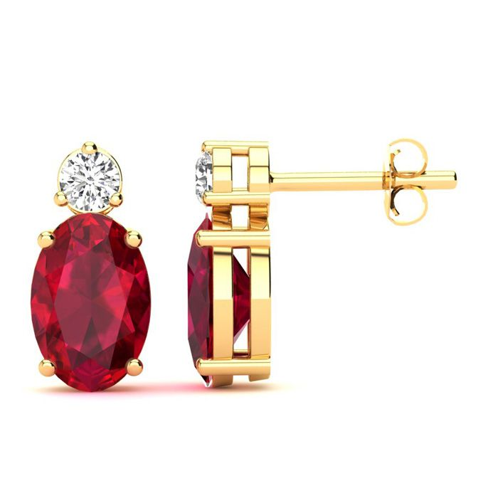 1 Carat Oval Ruby and Diamond Stud